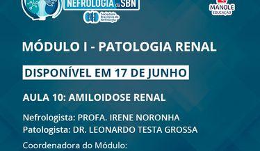 Aula 10 do 1º Módulo do Curso de Atualização da SBN sobre Patologia Renal disponível em 17 de junho