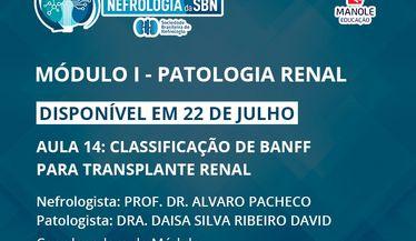 Aula 14 do 1º Módulo do Curso de Atualização da SBN sobre Patologia Renal estará disponível em 22 de julho