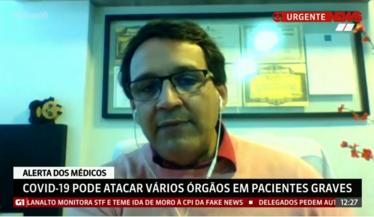 Dr. Marcelo Mazza, presidente da SBN fala sobre como o Covid-19 pode afetar os rins para a Globo News